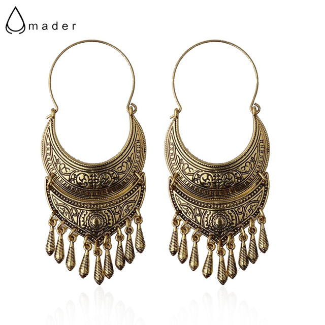 Amader Bronze Silver Vintage Ethnic South Jewelry Gold Tone Oxidized Indian Long Earrings Jhumka Jhumki