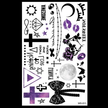 1sheet Trendy Halloween tattoo Mischief Night Purple kiss CrossBow Necklace flower arm tattoos stickers body art costume party золотые серьги по уху