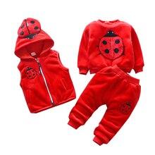 2019 kış bebek giyim setleri uğur böceği pamuk Noel Snowsuit Kalınlaşmak sıcak Kazak Takım Elbise kız erkek 3 adet/takım Çocuk Giysileri