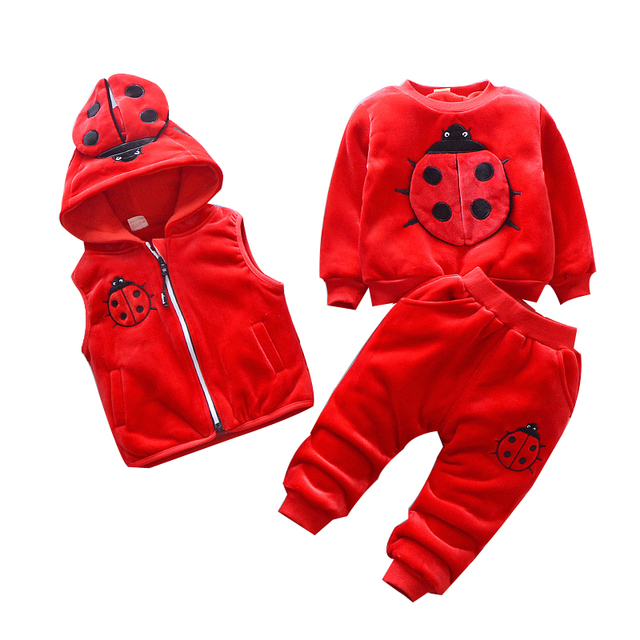 2019 winter baby Clothing Sets ladybug cotton Christmas Snowsuit Thicken Warm Sweatshirt Suit for girl boy 3pcs/set Kids Clothes