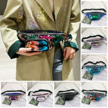 2019 New Fashion Women Sequin Waist Fanny Pack Belt Zipper Bag Chest Pouch