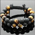 New Fashion Shamballa Bracelets Men's Double-Beaded Bracelet Dull Polish Matte Black Onyx & Tiger Eye Shamballa Jewelry NY-B-617