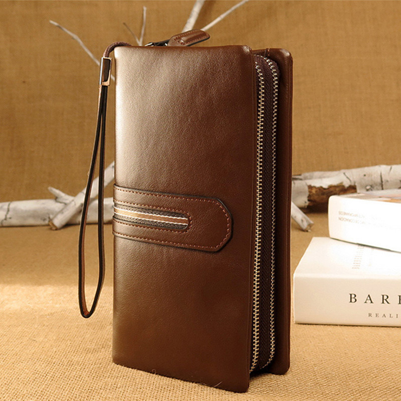 Brand Genuine Leather Men Wallets Business Card holder Coin Purse Men's Long Zipper Wallet Soft Leather Clutch
