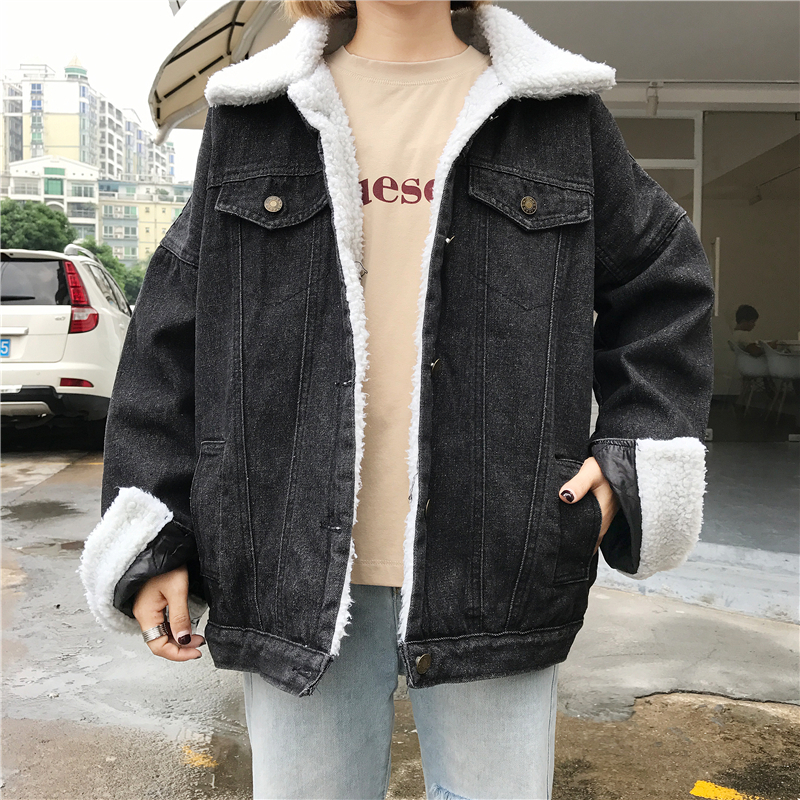 Autumn Winter New Fashion 2017 Women lambswool jean Coat With 4 Pockets Long Sleeves Warm Jeans Coat Outwear Wide Denim Jacket bishe spring autumn winter new 2017 fur jean denim jacket winter blue women jacket coat with hooded long sleeves warm outwear