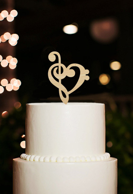 Music Note Cake Topper Custom Wedding Heart Funny