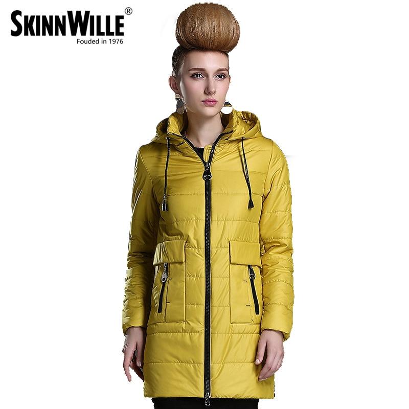 SKINNWILLE2016 Bahar Kadın coat Yeni Koleksiyon Orta Uzunlukta Sıcak ceket Rüzgarlık Kış Pamuk parka ince pamuk ceket