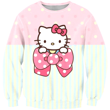 New arrival fashion Unisex Sweatshirt 3D hellokitty cute print simple Casual white relaxtion oversized Clothes Free shipping