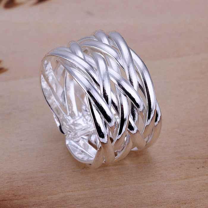 เงิน 925 แหวนแฟชั่นทอผ้าสุทธิเงินเครื่องประดับ Ring แหวนผู้หญิงแหวนนิ้วมือของขวัญ SMTR022