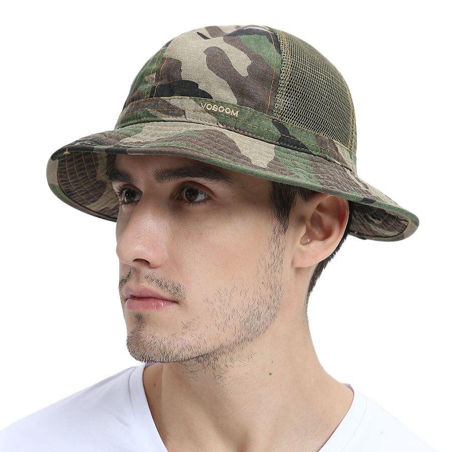 VOBOOM Summer Bucket Hat Men Wide Brim Sun Protection Fishing Cap Fisherman  Hats Camouflage Outdoor Mesh Net Caps 135 f60061d553a