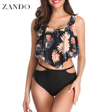 Zando Swimwear Tankini Women 2019 Two Piece Sexy Backless Halter Floral Printed Swimming Suit For Mid Waist Biquinis