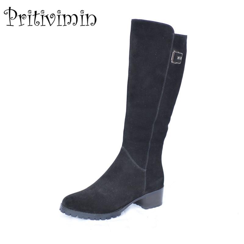 2018 женские замшевые кожаные сапоги до колена высокие сапоги зимние женские теплые с натуральным мехом внутри на обуви женские толстый кабл...
