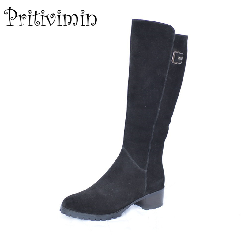 2018 Ladies suede leather knee high boots winter woman warm real fur lined shoe female thick heel riding boots Pritivimin FN38