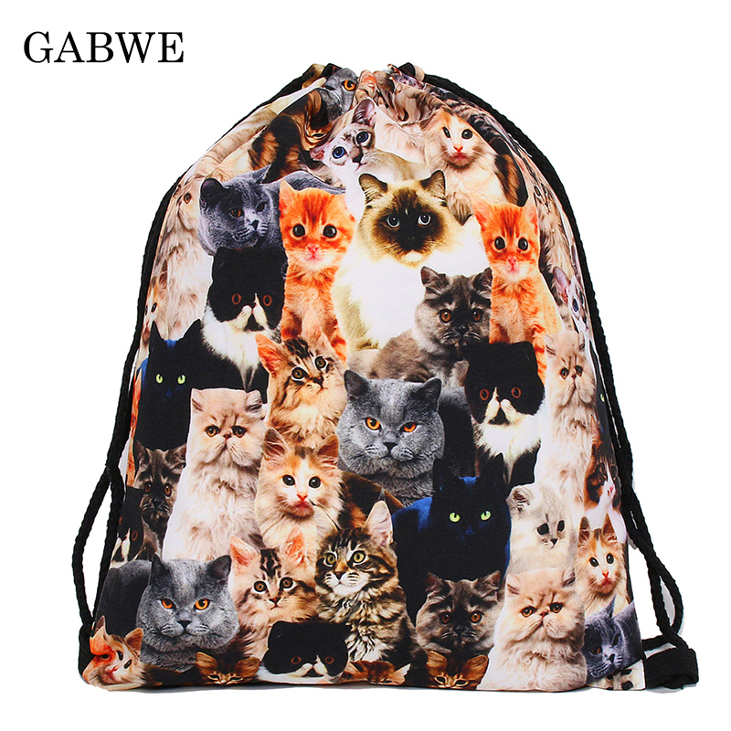 GABWE 3D Printed Drawstring Bags With Cute Kitty Meow Drawstring Bag Travel Organizer Worek Plecak Sznurek