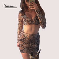 Fuedage Summer Leopard Printing Dress Women Sexy Cropped Two Pieces 2017 Sexy V Neck Club Patry