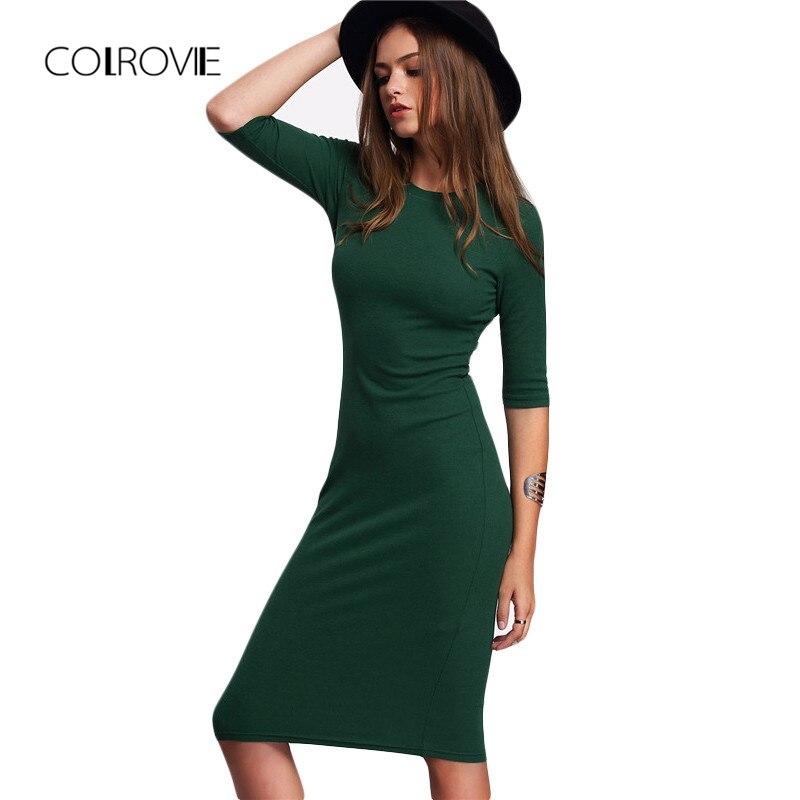 Купить на aliexpress COLROVIE работы Летний стиль Для женщин облегающие пикантные платья Повседневное зеленый Экипаж шеи с рукавом до локтя миди платье