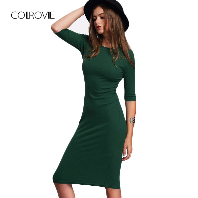COLROVIE Work Summer Style Women Bodycon Dresses  Casual Green Crew Neck Half Sleeve Midi Dress