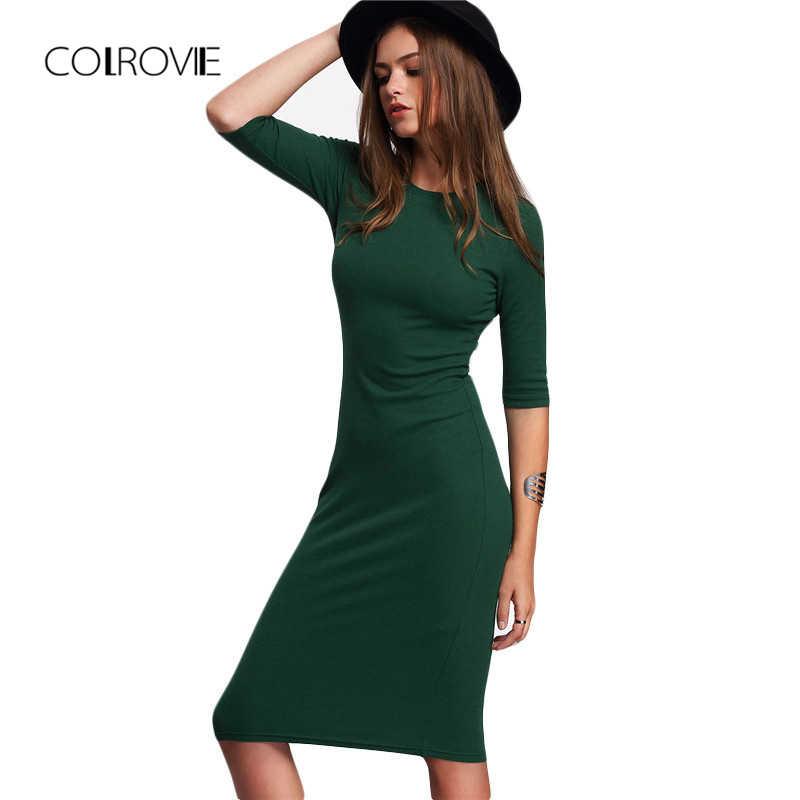 bd83abb5e4fb COLROVIE Work Summer Style Women Bodycon Dresses Sexy Casual Green Crew  Neck Half Sleeve Midi Dress