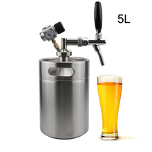 ФОТО 5L Mini Beer Keg Growler Spears with Adjustable Tap Faucet and Regulator CO2 Charger Kit 0-30 PSI Stainless Steel Homebrew Set
