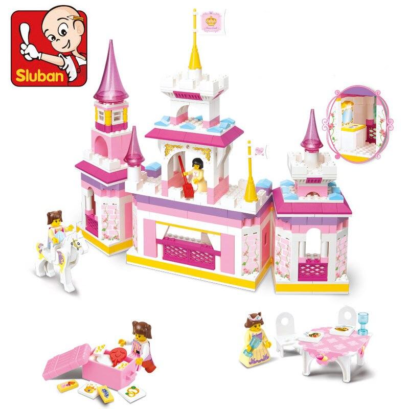 SLUBAN 385Pcs Pink Dream Friends Educational DIY Toy princess dream castle Building Blocks Bricks Toys For Children цена
