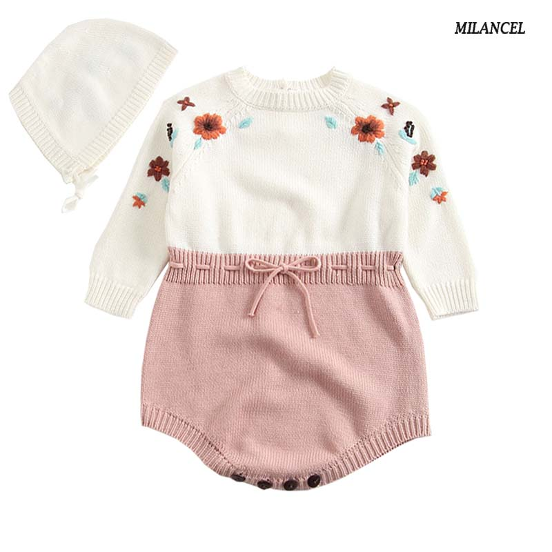 MILANCEL 2018 New Baby Girls Clothes Knitted Bodysuits for Baby Clothing with Hat Embroidery Girls Clothes Baby Girl onesie
