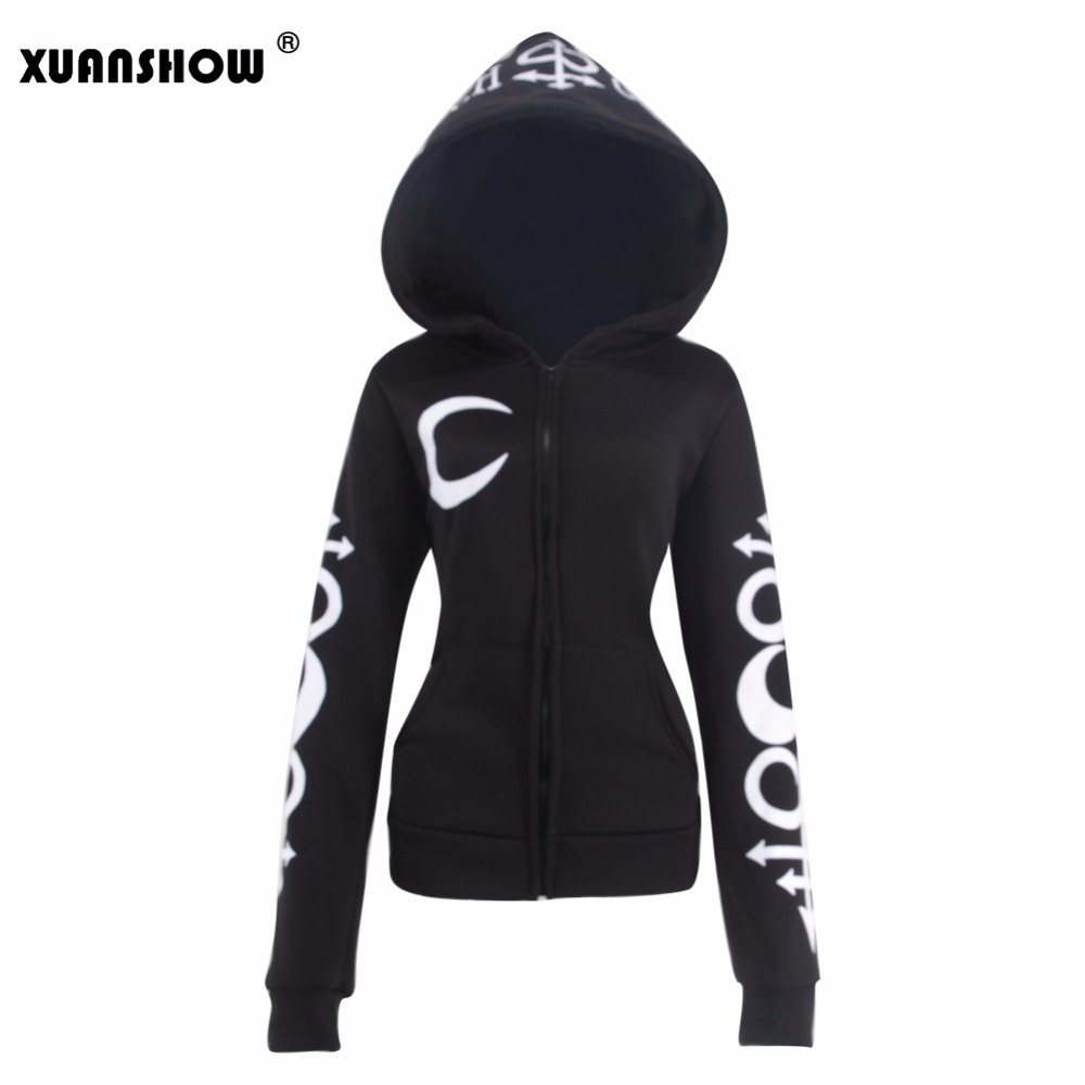 Xuanshow Women Hoodies Clothes Gothic Punk Moon Letters Printed Sweatshirts Winter Autumn Long Sleeve Jacket Zipper Coat #3