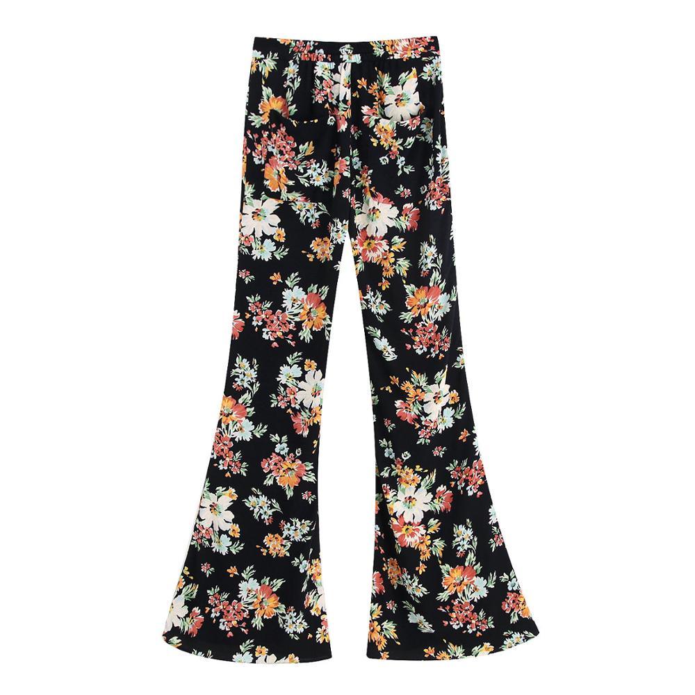 2019 za women's floral print flare   pants   causal loose female's chiffon trousers   wide     leg     pants   size XS S M L