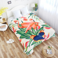 Drop Ship Flamingo Tropical Plants Fleece Blankets for Beds Adults Kids Quilt Bedding Plaids Bed Covers Bedspread Home Textile