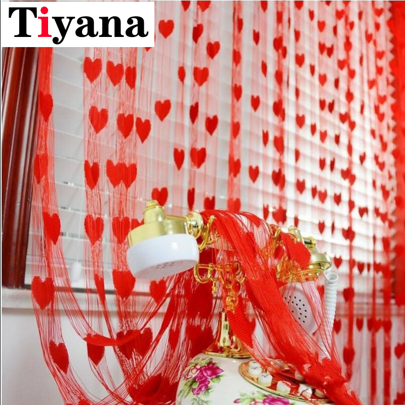 Tiyana Heart Line Tulle Ready Curtains For Bedroom Kitchen Decorative Door Partition Curtain Yarn String 100cm*200cm P240D2