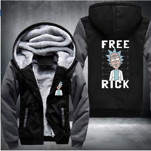 2018 Hooded jacket Rick and Mortimer addicted to add velvet zipper long-sleeved hoodie Welcome to map custom