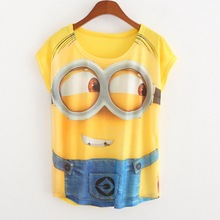 New Casual Tops Women 2017 Summer Style Round Neck Cute Minions Print T Shirt Fashion Short