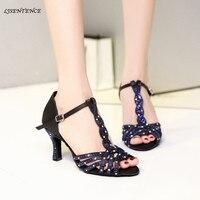Women ballroom latin dance shoes salsa Tan Style black medium heel sandals shine blue rhinestone Samba Kizomba Tango dance shoes