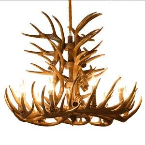 Image 1 - Marrom Branco Resina Antler Chandelier Iluminação Do Vintage 4/6/9 Braços E14 Luminárias Lustres de Luxo Para Casa