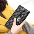Nuevo Diseño de Moda de Marca Famosa Mujeres De Cuero Carpeta Larga Bifold Billetero Monedero Del Bolso de Bolsillo para el Teléfono Celular Negro