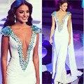 Nova Moda 2016 Decote Em V Profundo Sereia Elegante Vestido de Baile Branco Frisado Strass Vestidos de Noite Vestidos Vestidos Pageant para Mulheres