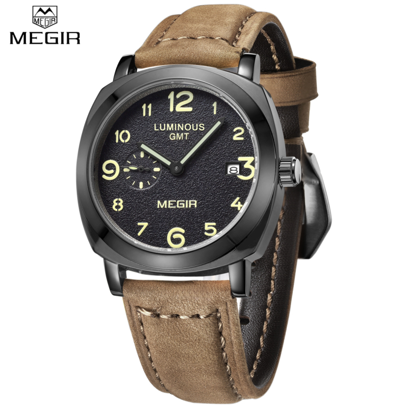 Watches Men MEGIR Brand Fashion Men Military Watch Male Business Design Cool Clock Sports Leather Strap Luxury Wrist watch genuine curren brand design leather military men cool fashion clock sport male gift wrist quartz business water resistant watch
