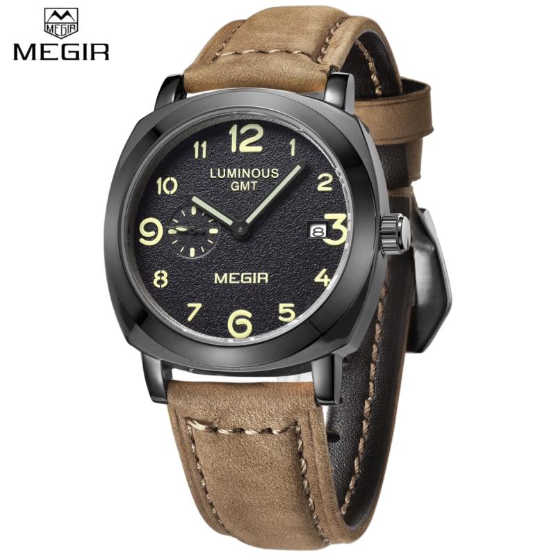 Watches Men MEGIR Brand Fashion Men Military Watch Male Business Design Cool Clock Sports Leather Strap Luxury Wrist watch