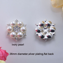 5Pcs set Craft Pearl Crystal Rhinestone Buttons Flower Round Cluster  Flatback Wedding Embellishment Jewelry Craft c82a4c468a14