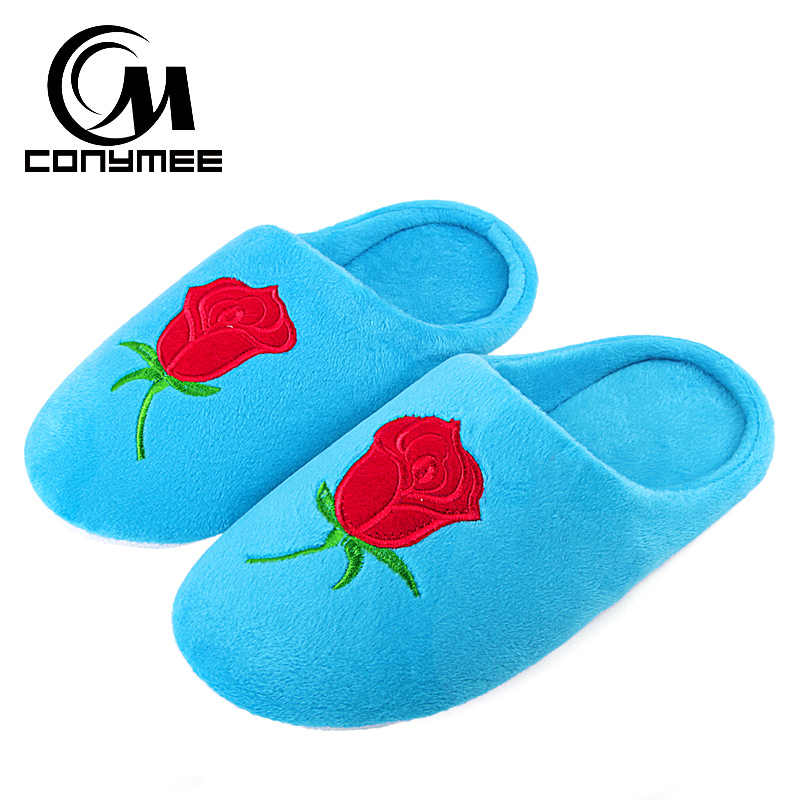CONYMEE Home Slippers Women Flats Shoes 2018 Soft Floor Indoor Slipper Zapatos Mujer Embroidered Flower Woman Winter Terlik