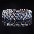 2017 Fashion White Gold Plated Luxury White And Created Sapphire Blue Simulated Diamond Big Bracelets Bangles For Women BR038