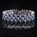 2017 Moda Branca Banhado A Ouro de Luxo Branco E Criado Safira Azul Simulado Diamante Grandes Pulseiras Pulseiras Para As Mulheres BR038