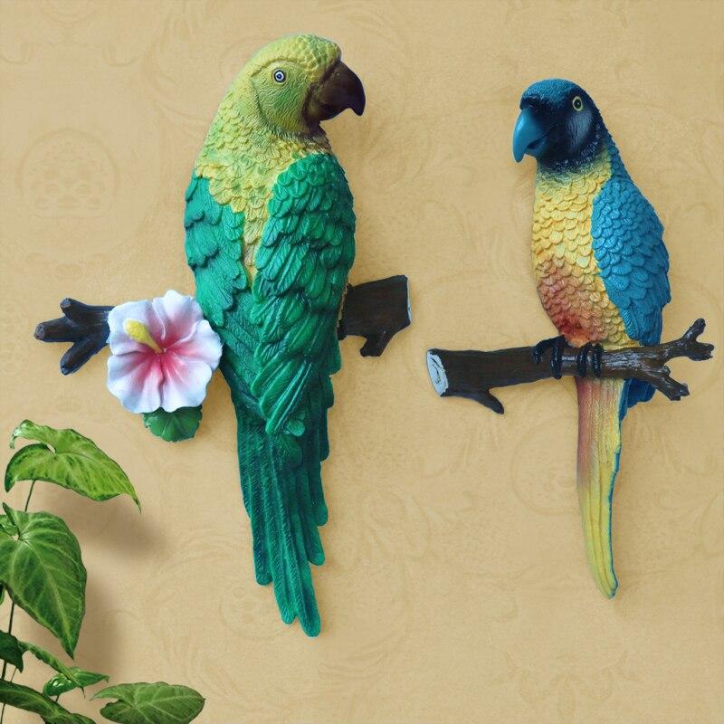 Meijswxj 3D Mural Art Stereo resin parrot wall decoration Ccreative ...