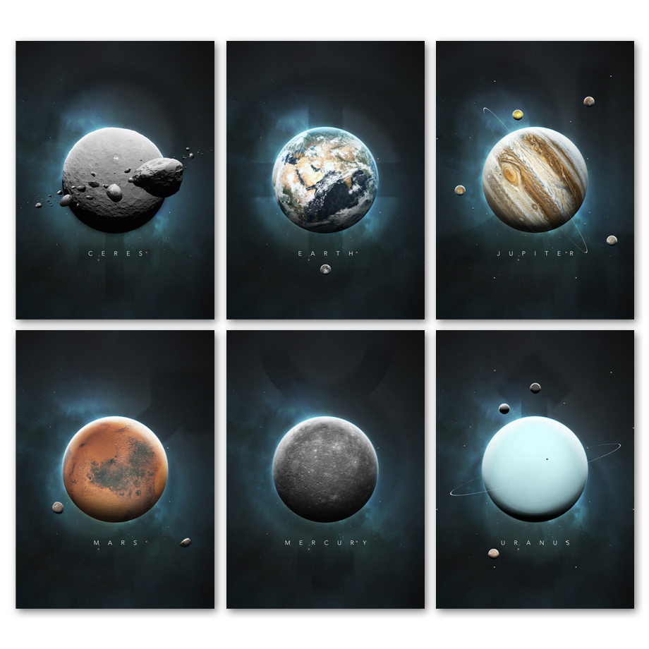 Framed Print Picture Poster Art Space Universe Galaxy Mars Moon Planet Earth