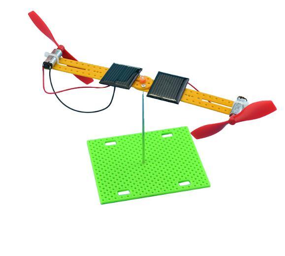 Turn Double Solar Toys Aerodyne Double Motor Propeller Toy DIY Assembling Model DIY Handmade Toy Kit
