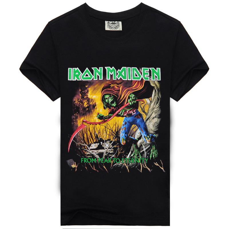 Rocksir Brand Clothing Cotton IRON MAIDEN <font><b>From</b></font> <font><b>Fear</b></font> <font><b>To</b></font> <font><b>Eternity</b></font> Print T Shirts Men Summer Tee Big Size Good Quality