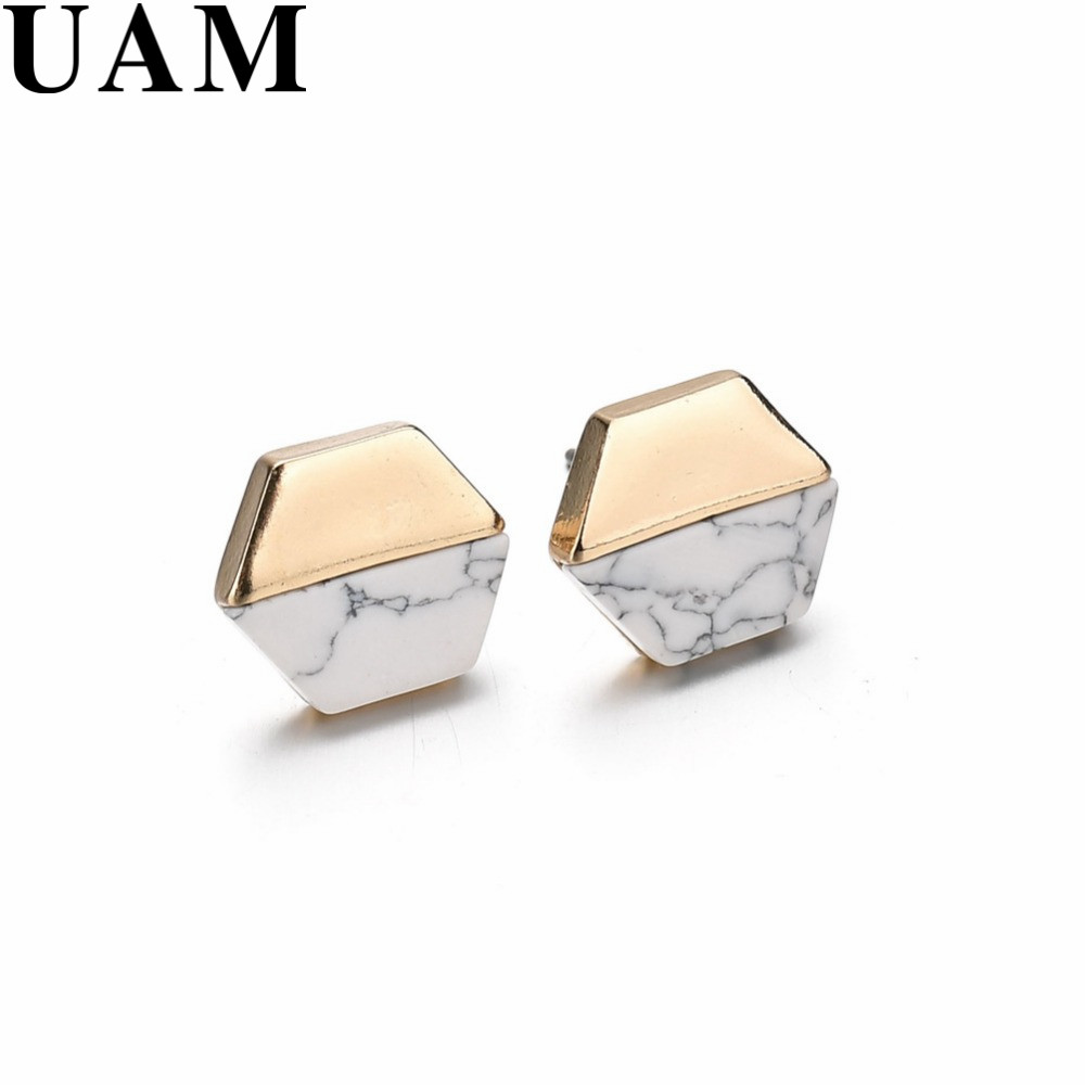 Tiny Round Square Triangle Marble Stone Stud Earrings Black White Geometric Statement Pendientes For Women Minimalist Jewelry