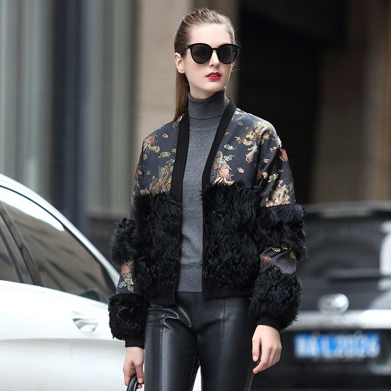 2018 nouveau manteau de fourrure d'agneau pour femmes Style chinois Dragon et Phoenix Jacquard brocart Version rétro veste de fourrure naturelle rf0303