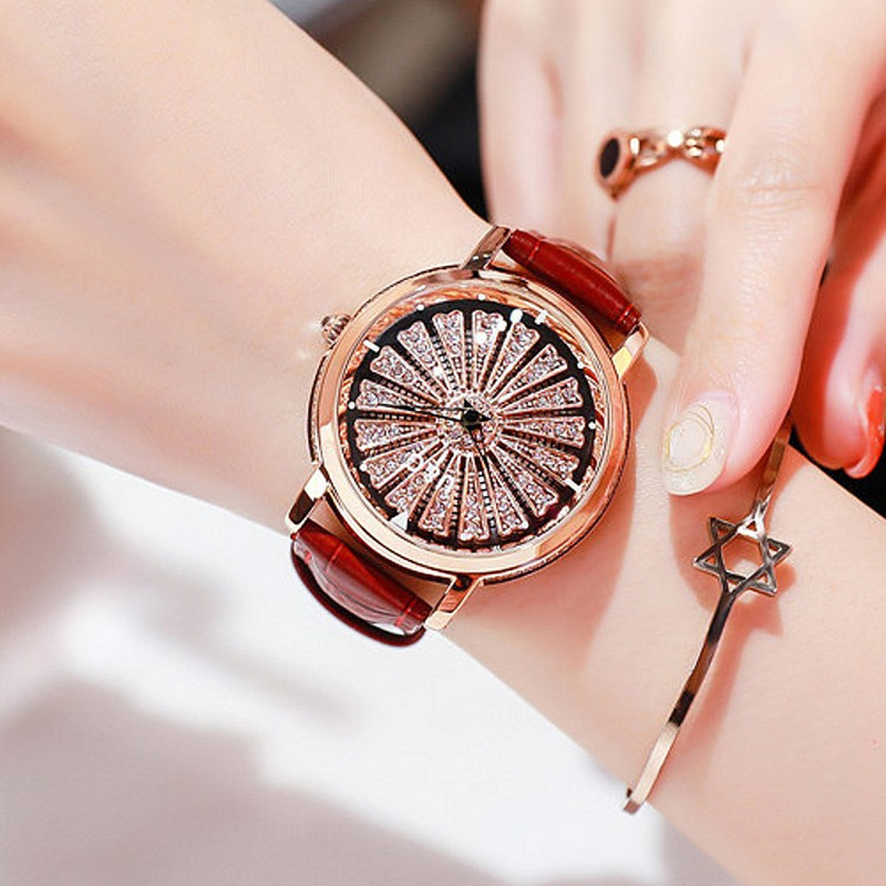 Top Brand Rotation Women Watches Lady Luxury High Quality Casual Quartz Watch Woman Leather Strap Watch Big Dial reloj mujer free shipping original new original 10 1 inch auo lcd screen b101uan01 7 hw0a