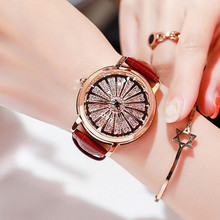 Top Brand Rotation Women Watches Lady Luxury High Quality  Casual Quartz Watch Woman Leather Strap Watch Big Dial reloj mujer kimio crystal watch women high quality diamond watch woman bracelet watches quartz famous brand luxury lady watch for woman girl