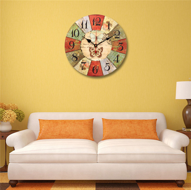 New Arrival High Quality Large Wall Clock Tracery Butterfly Rustic ...