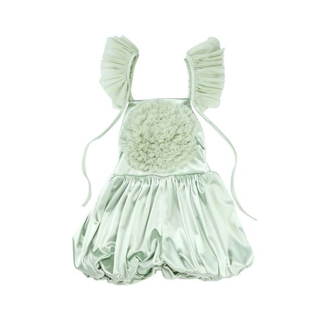 ab3a9b44bc US $13.33  Baby girls jumpsuits 2018 short summer tulle swirls Ruffles  Playsuit Princess Toddler Girl Cute Pink Satin Overalls Romper 1 10y-in ...